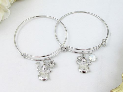 8.5mm | Snowman Charm Bangle Bracelet | One Piece