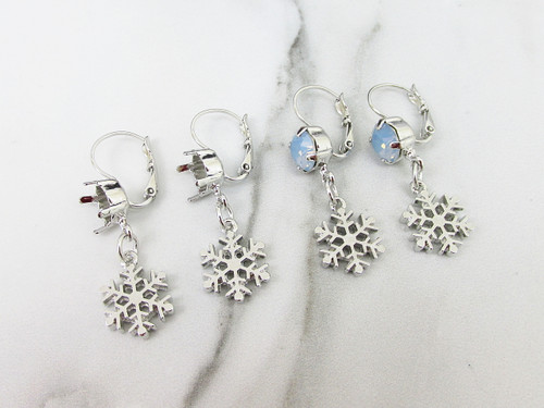 8.5mm | Snowflake Drop Earrings | One Pair