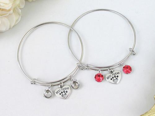 Best Friend Paw Charm Bangle Bracelet