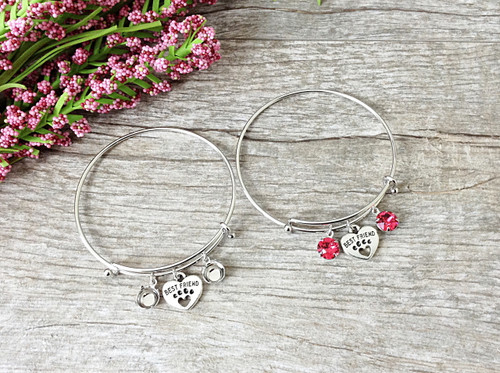 Best Friend Paw Charm With Two 8.5mm (39ss) Empty Settings On An Expandable Bracelet