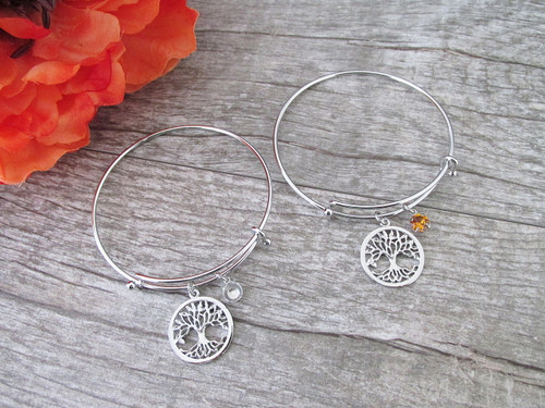 Small Tree Of Life Charm With 6mm (29ss) Empty Setting Expandable Bracelet