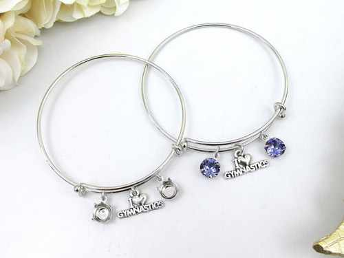 8.5mm | I Love Gymnastics Charm Bangle Bracelet | One Piece