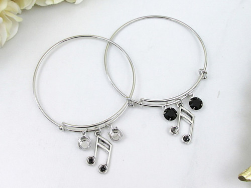 8.5mm | Music Note Charm Bangle Bracelet | One Piece