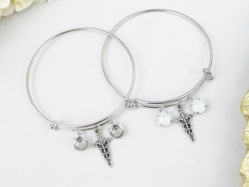 8.5mm | Medical Professional Charm Bangle Bracelet | One Piece