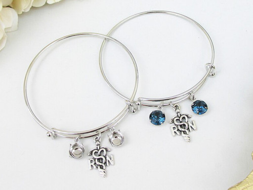 8.5mm | RN Nurse Charm Bangle Bracelet | One Piece