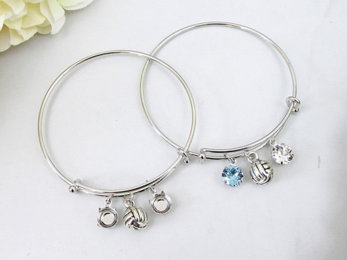 8.5mm | Volleyball Charm Bangle Bracelet | One Piece