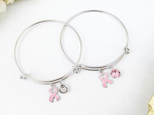 Breast Cancer Awareness Ribbon Charm Bangle Bracelet