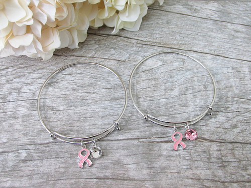 Breast Cancer Awareness Ribbon Charm Bangle Bracelet, view 2