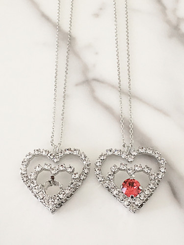 8.5mm | Rhinestone Double Heart Necklace view 2