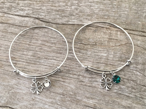 8.5mm | Four Leaf Clover Charm Bangle Bracelet | One Piece