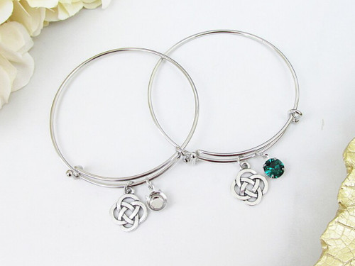 8.5mm | Celtic Knot Charm Bangle Bracelet | One Piece