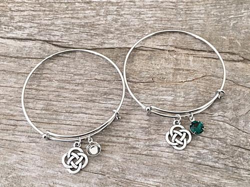 8.5mm | Celtic Knot Charm Bangle Bracelet | One Piece