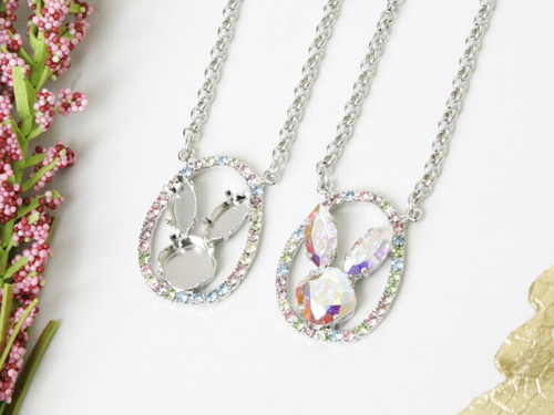 12mm Square & 15mm x 7mm Navette | Easter Bunny Rhinestone Necklace | One Piece