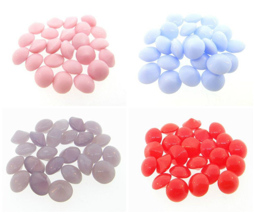 8.5mm | Vintage Glass Buff Top Chatons | 24 Pieces