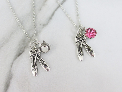 8.5mm | Ballet Slippers Charm Necklace | One Piece