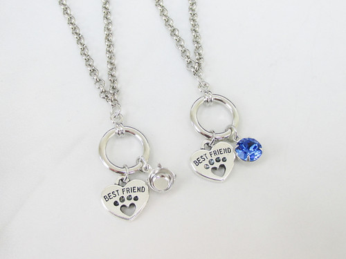 8.5mm | Paw Print Heart Charm Necklace | One Piece
