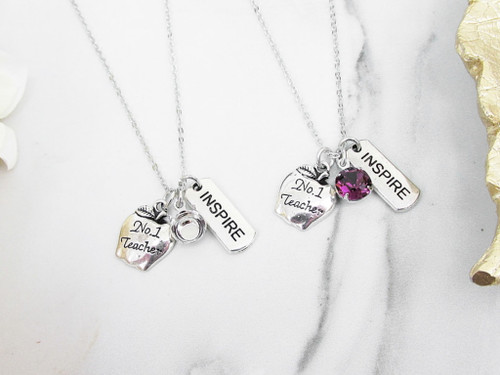 8.5mm | Inspirational Teacher Charm Necklace | One Piece