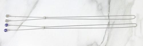 12mm Round   Single Setting Adjustable Slider Necklace   One Piece