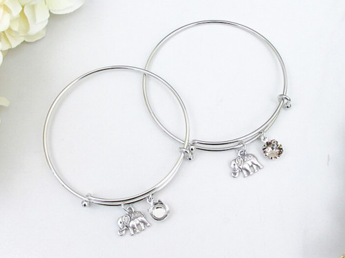 8.5mm | Elephant Charm Bangle Bracelet | One Piece