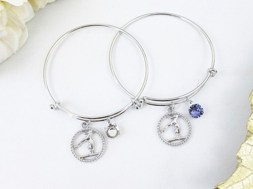 8.5mm | Gymnastics Beam Pose Charm Bangle Bracelet | One Piece