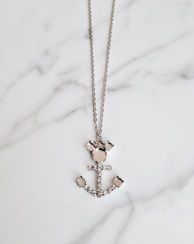 Girl Mouse Anchor Charm Necklace