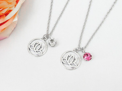 8.5mm | Lotus Flower Charm Long 30 Inch Necklace | One Piece