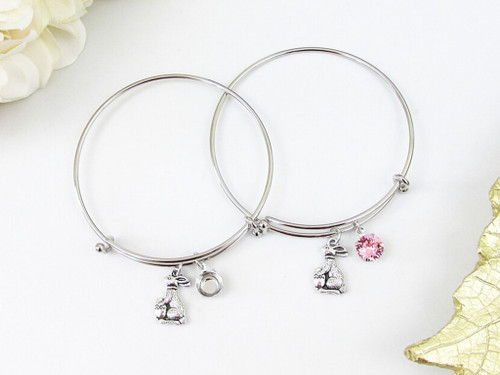 8.5mm | Easter Bunny Charm Bangle Bracelet | One Piece