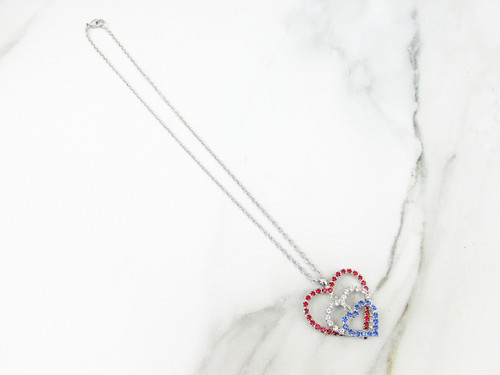 Patriotic Triple Heart Crystal Rhinestone Necklace | One Piece