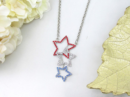 Patriotic Triple Star Crystal Rhinestone Necklace | One Piece