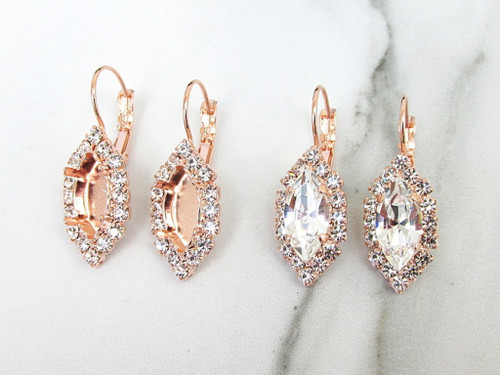 15mm x 7mm Navette | Crystal Halo Drop Earrings | One Pair
