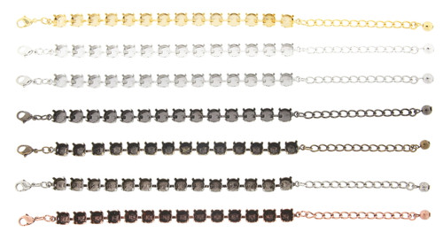 8.5mm 14 Box Bracelet Finishes - Gold Overlay, Sterling Silver Overlay, Rhodium, Hematite, Brass Ox, Silver Ox, and Copper Ox