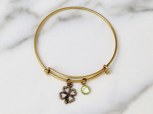 Brass Ox Four Leaf Clover Bracelet with Swarovski Chanel Crystal