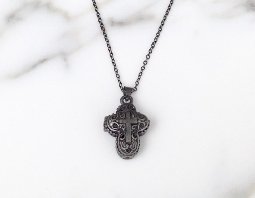 Hematite Cross Locket Necklace