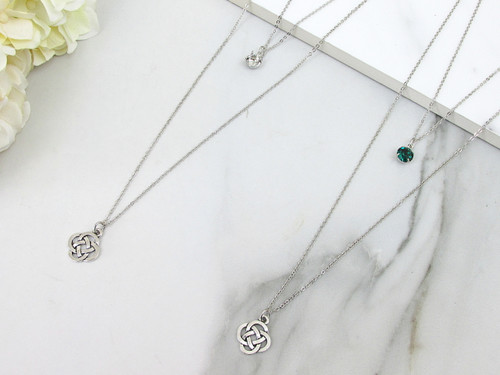 8.5mm | Layered Celtic Knot Charm Necklace | One Piece