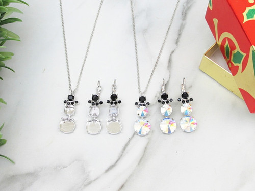 8.5mm & 12mm Round | Snowman Crystal Rhinestone Necklace & Earrings | One Set
