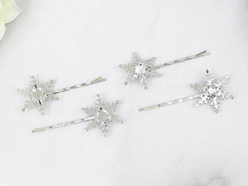 8.5mm | Snowflake Bobby Pins | One Pair