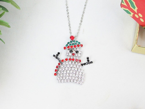 Snowman With Hat & Scarf Crystal Rhinestone Necklace | One Piece