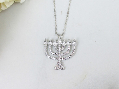 Menorah Crystal Rhinestone Necklace | One Piece