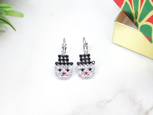 Snowman Crystal Rhinestone Earrings | One Pair
