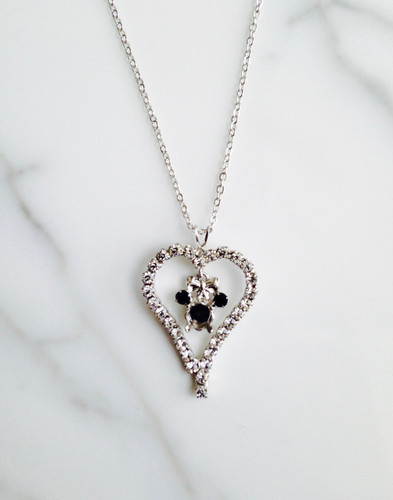 6mm | Girl Mouse with Rhinestone Heart Necklace