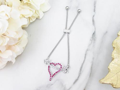 Pink Heart With Arrow Crystal Rhinestone Slider Bracelet | One Piece