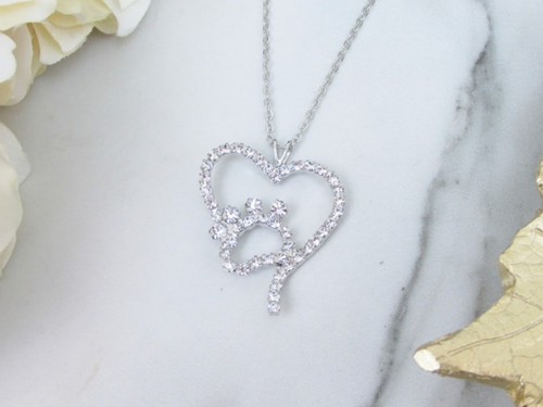 Paw Print and Heart Crystal Rhinestone Necklace | One Piece