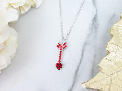 Red Heart Arrow Crystal Rhinestone Necklace | One Piece