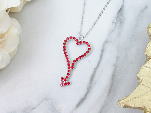 Red Heart Crystal Rhinestone Necklace | One Piece