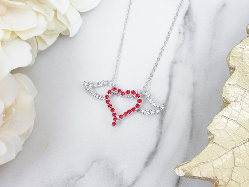 Red Heart With Wings Rhinestone Necklace | One Piece