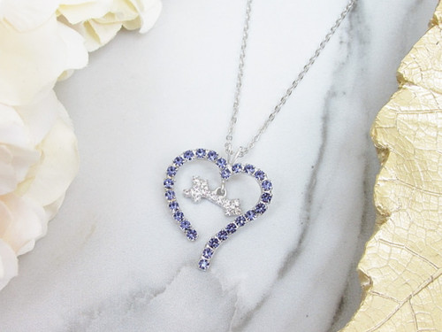 Purple Heart With Dangling Arrow Rhinestone Necklace | One Piece
