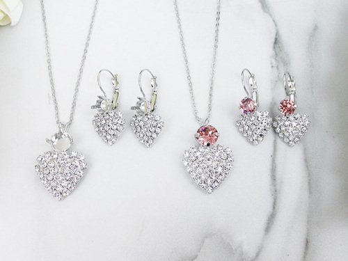 6mm & 8.5mm | Crystal Rhinestone Heart Earring And Necklace | One Set