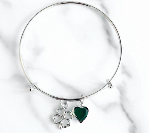 Luck of the Irish Bangle made with a Heart Crystal