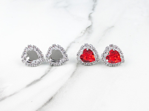 8mm Heart | Crystal Halo Stud Earrings | One Pair