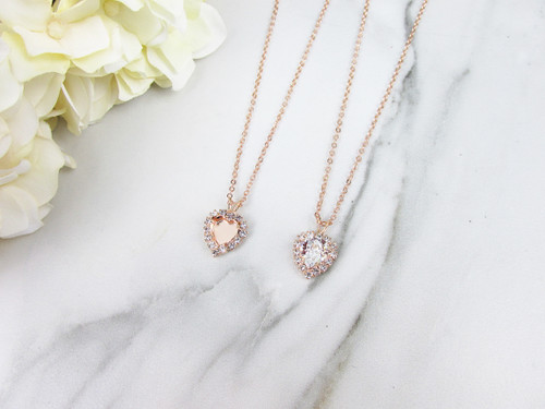 8mm Heart | Crystal Halo Single Pendant Necklace